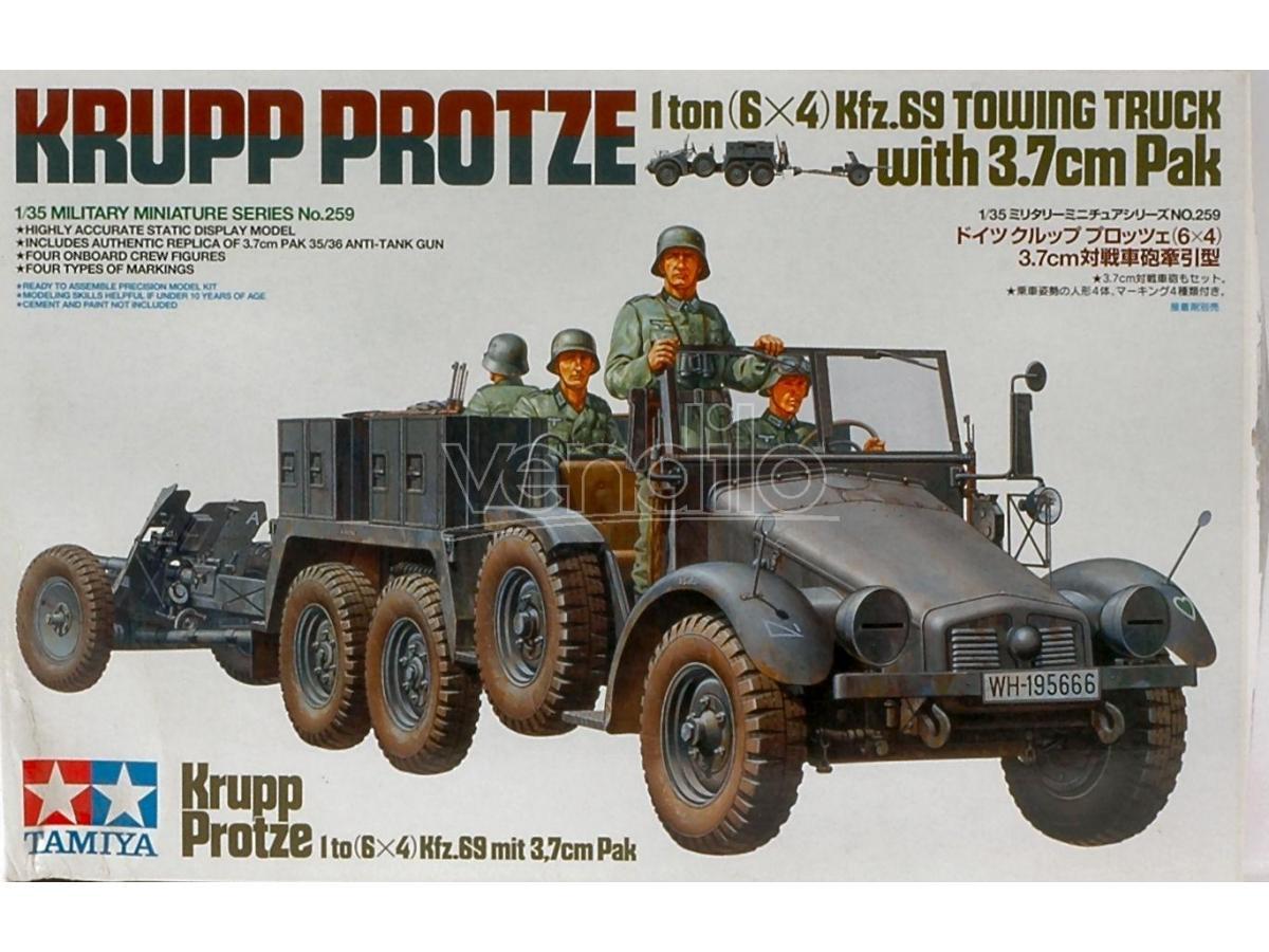 Tamiya TA35259 KRUPP TOWING TRUCK W/TOWING KIT 1:35 Modellino