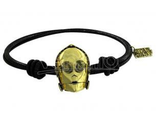 SD TOYS SW C-3PO GOLD BRACELET BLACK RUBBER BRACCIALETTO