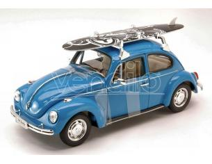 Welly WE4362BL VW BEETLE 1959 W/WINDSURF BLUE 1:24 Modellino