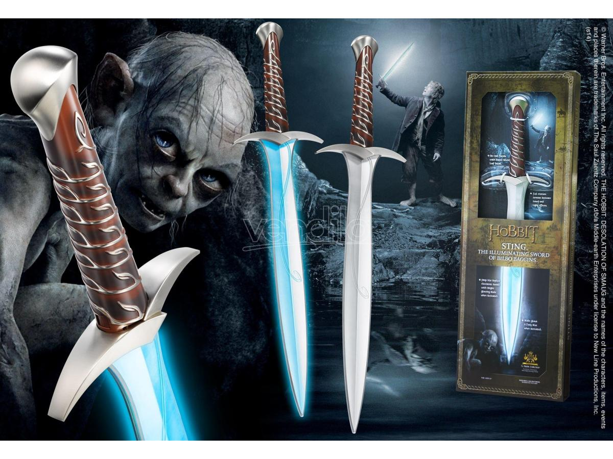 Pungolo Spada Elfica Luminosa di Bilbo Beggins Frodo Lo Hobbit 68 cm Noble Collection