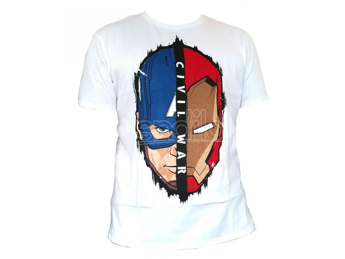 Maglietta Captain America Civil War T Shirt Stark Cap Head Size L CODI