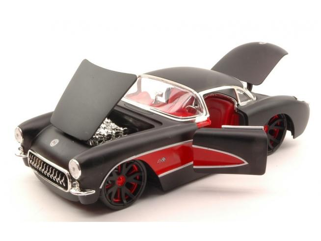 JADA TOYS JADA96806BKR CHEVY CORVETTE 1957 BLACK W/RED WHEELS 1:24 Modellino