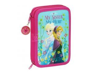 Astuccio portapenne scuola Frozen 34 Piece pencil case with content Nordic Summer 21 cm Safta