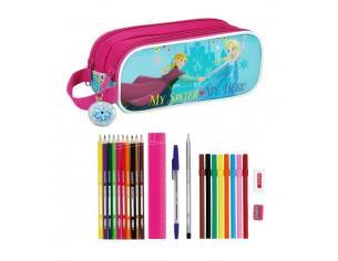 Astuccio portapenne scuola Frozen 23 Piece Double pencil case Nordic Summer 21 cm Safta
