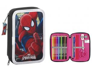 Astuccio portapenne Spiderman Small Double Filled pencil case with 34 pcs. Safta