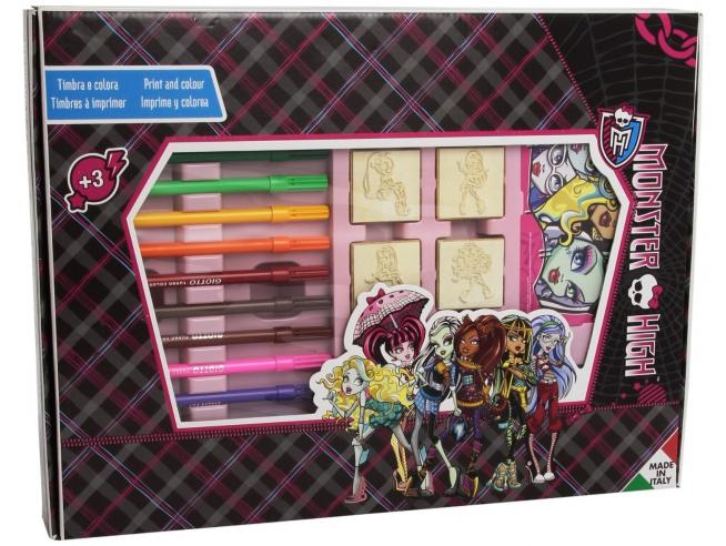 Multiprint Valigiotto 7 Timbri + 12 Pennarelli Monster High 4869 [Giocattolo]