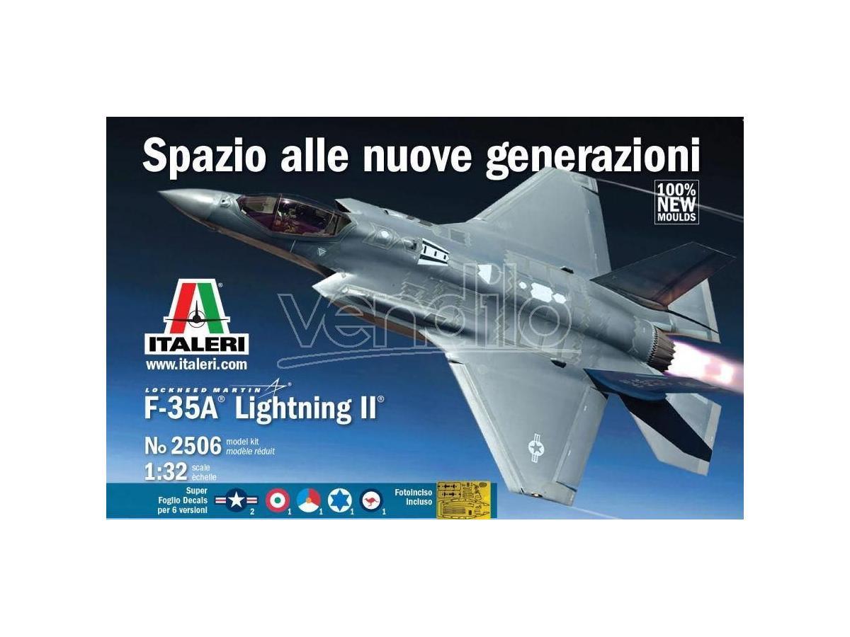 Italeri IT2506 F-35A LIGHTING II LOCKHEED (49 cm) DECALS x 5 VERSIONI  KIT 1:32 Modellino