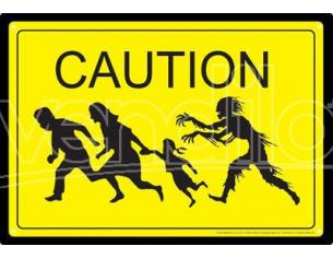 AQUARIUS ENT ZOMBIE CAUTION TIN SIGN INSEGNA