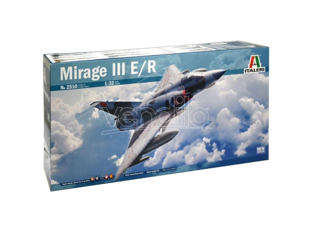 Italeri IT2510 MIRAGE III E/R C/SUPER DECALS x 6 VERSIONI + FOTOINCISIONI KIT 1:32 Modellino