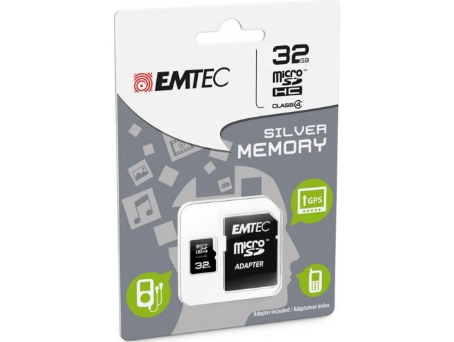 MICROSD + ADAPTER 32GB SILVER (MP3-MP4) MEMORY CARD/HARD DISK CONSOLE - MEMORIE