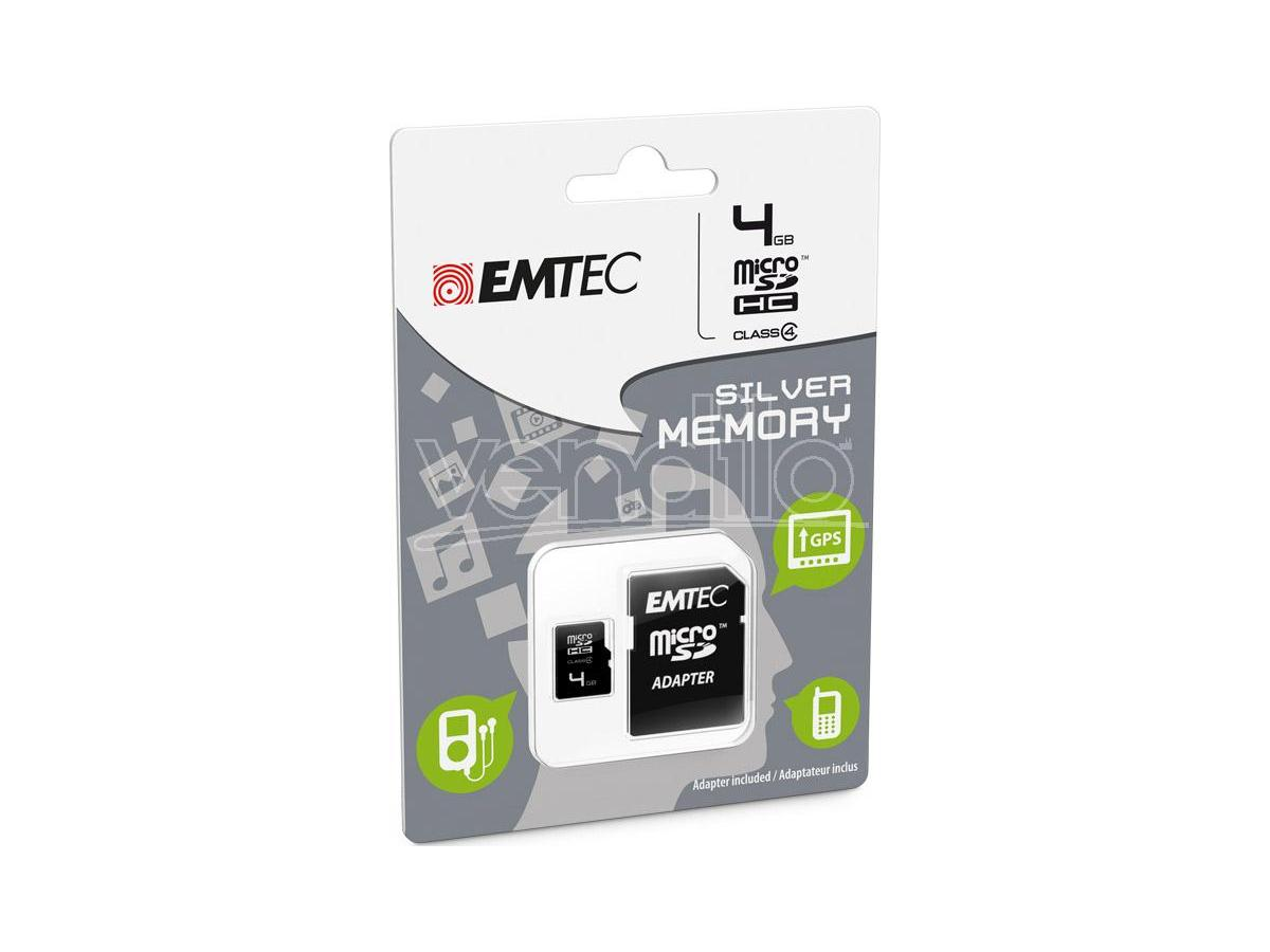 MICROSD + ADAPTER 4GB SILVER (MP3-MP4) MEMORY CARD/HARD DISK CONSOLE - MEMORIE
