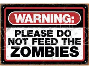 AQUARIUS ENT ZOMBIE WARNING TIN SIGN INSEGNA