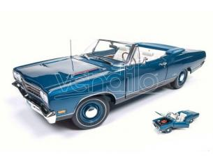 Auto World AMM1102 PLYMOUTH GTX CONVERTIBLE 1969 LIGHT BLUE METALLIC 1:18 Modellino