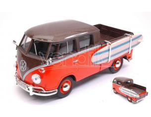 Motormax MTM79560 VW TYPE 2 (T1) DOUBLE CAB PICK UP ORANGE/BROWN 1:24 Modellino
