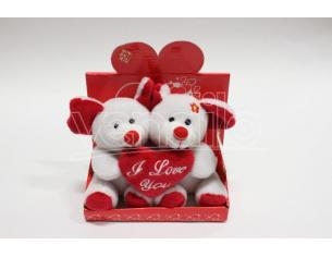 "Peluche Coppietta Topini con Suono e Cuore ""I Love You"" 13 cm"