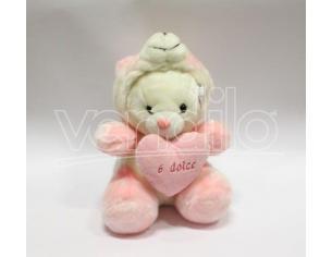 """Peluche Orsetto Bianco/Rosa Trasformabile Pansa """"6 Dolce"""" 30 cm"""