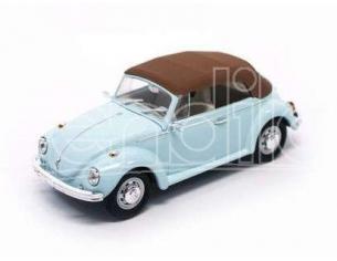 Hot Wheels LDC43221LB VW BEETLE CABRIO SOFT TOP 1972 LIGHT BLUE/BROWN 1:43 Modellino