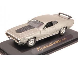 Hot Wheels LDC94218S PLYMOUTH GTX 1971 SILVER W/BLACK STRIPES 1:43 Modellino