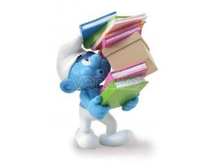 PLASTOY SMURF CARRYING A PILE OF BOOKS STATUE STATUA