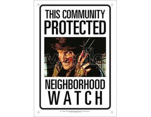 AQUARIUS ENT FREDDY NEIGHBORHOOD WATCH TIN SIGN INSEGNA