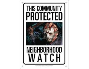 AQUARIUS ENT JASON NEIGHBORHOOD WATCH TIN SIGN INSEGNA