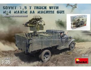 Miniart MIN35186 SOVIET 1,5 t TRUCK W/M-4 MAXIM AA MACHINE GUN KIT 1:35 Modellino