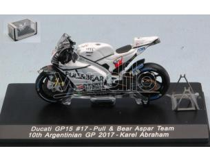 SPARK MODEL M43022A DUCATI GP15 KAREL ABRAHAM 2017 N.17 10th ARGENTINA GP 1:43 Modellino