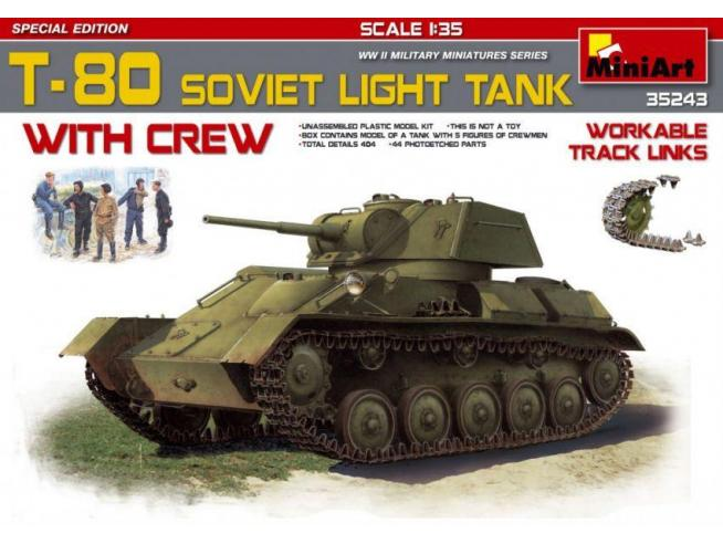Miniart MIN35243 T-80 SOVIET LIGHT TANK W/CREW KIT 1:35 Modellino