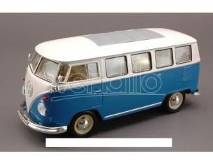Welly WE1210 VW BUS 1962 BLUE W/WHITE ROOF 1:24 Modellino