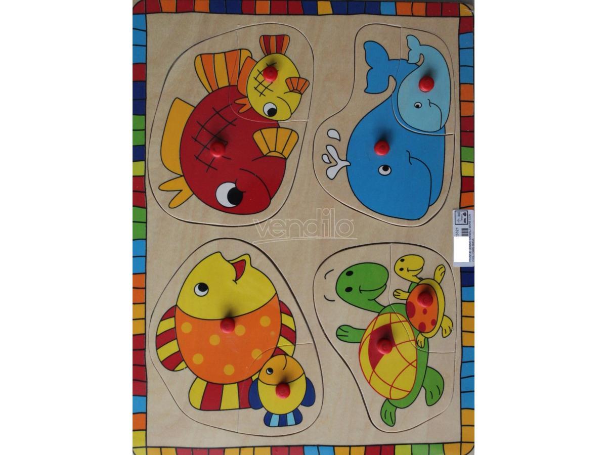 DEMMY - PUZZLE LEGNO ANIMALI MARE CON PIOLI C046-6663A: - PUZZLE