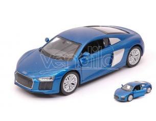 Welly We38513a Audi R8 V10 2016 Metallolic Blue Cm 11 Modellino