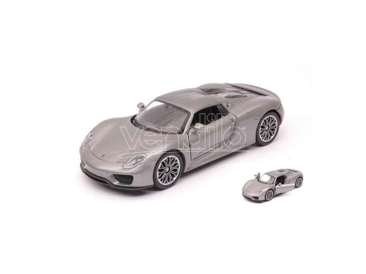 Welly WE38513G PORSCHE 918 SPYDER SILVERGUN cm 11 Modellino