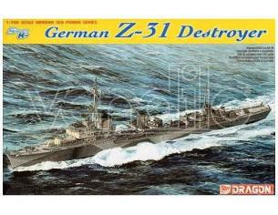 Dragon D7126 GERMAN Z-31 DESTROYER KIT 1:700 Modellino