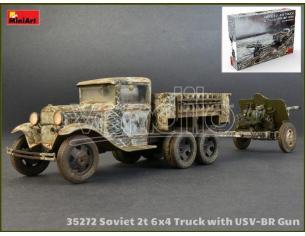 Miniart Min35272 Soviet 2t 6x4 Truck Con 76 Mm Usv-br Gun Kit 1:35 Modellino