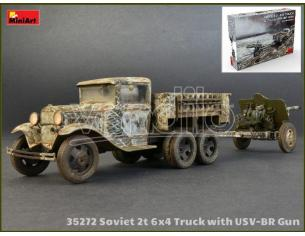 Miniart MIN35272 SOVIET 2t 6x4 TRUCK WITH 76 mm USV-BR GUN KIT 1:35 Modellino
