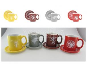 SD TOYS GOT EMBLEMS ESPRESSO MUG/SAUCER SET (4) TAZZA