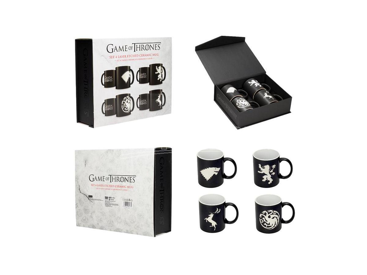 SD TOYS GOT HOUSES EMBLEMS B/W MUG SET (4) TAZZA