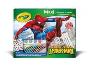 Crayola 7468 Album Maxi Colori e Stickers Adesivi Spider Man 70 pezzi