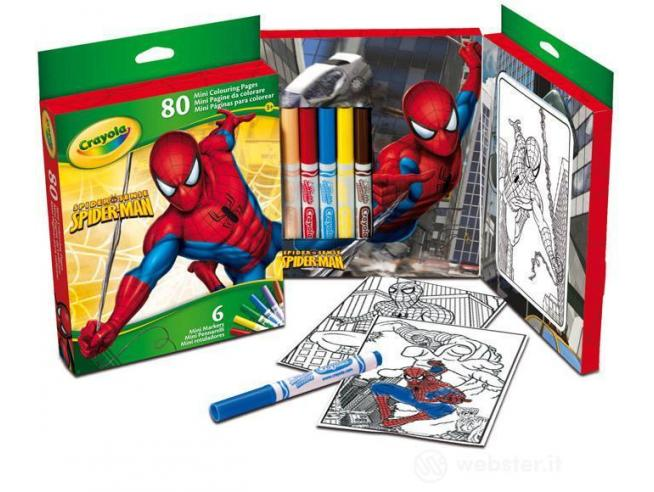 Crayola 31300 Mini Pagine da Colorare 6 mini pennarelli Spider man