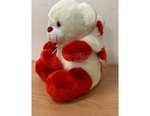 Peluche Orso bianco con cappuccio bianco rosso cuore 30 cm Peticoco