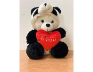 """Peluche Orso bianco con cappuccio bianco rosso cuore """"ti penso"""" 30 cm Peticoco"""