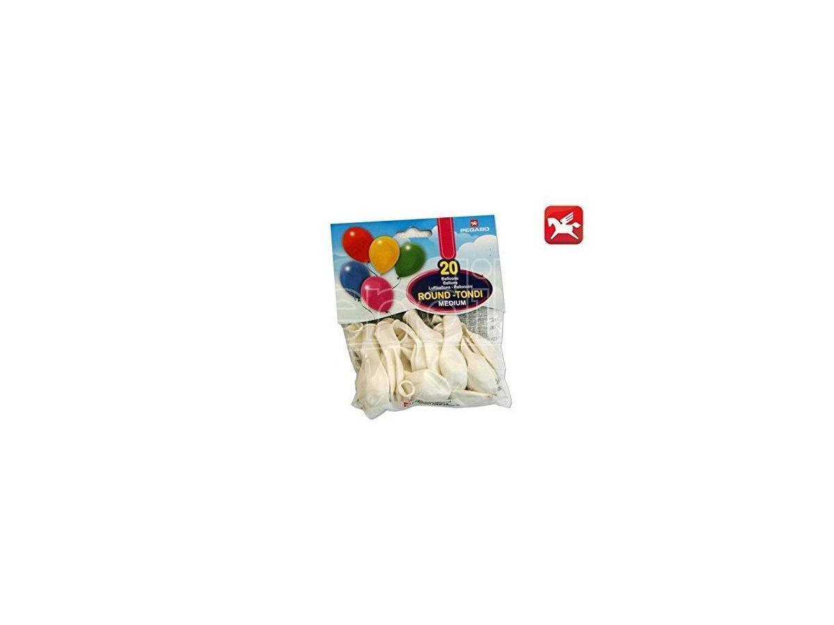 Confezione Palloncini Medium Bianco 20 Pezzi Tondi Pegaso