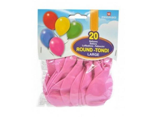 Pegaso Confezione Palloncini Medium Rosa 20 Pezzi tondi