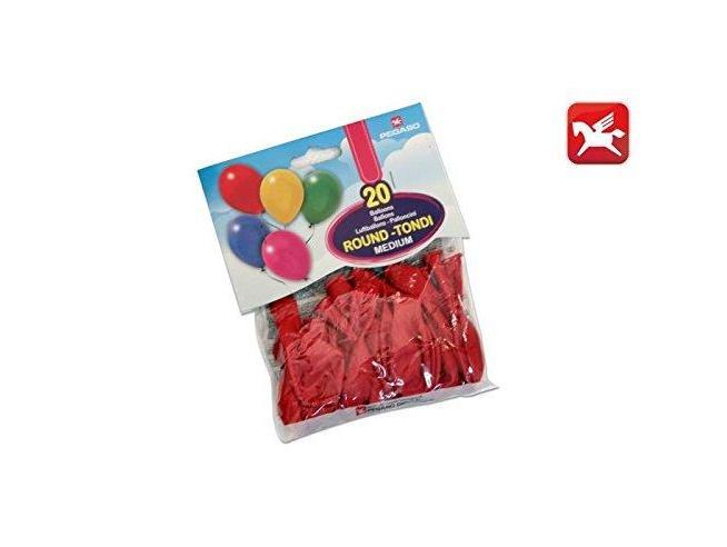 Pegaso Confezione Palloncini Medium Rosso 20 Pezzi tondi