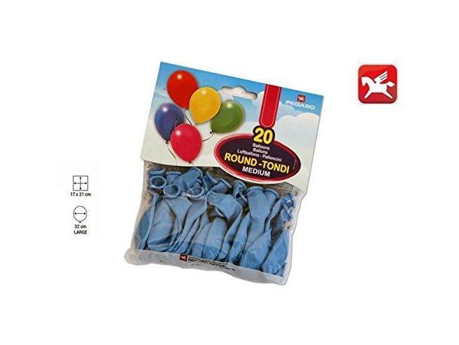 Pegaso Confezione Palloncini Medium Azzurro 20 Pezzi tondi
