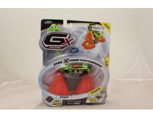 GX RACERS - Automobilina verde side spin con molla a strappo e con ostacoli