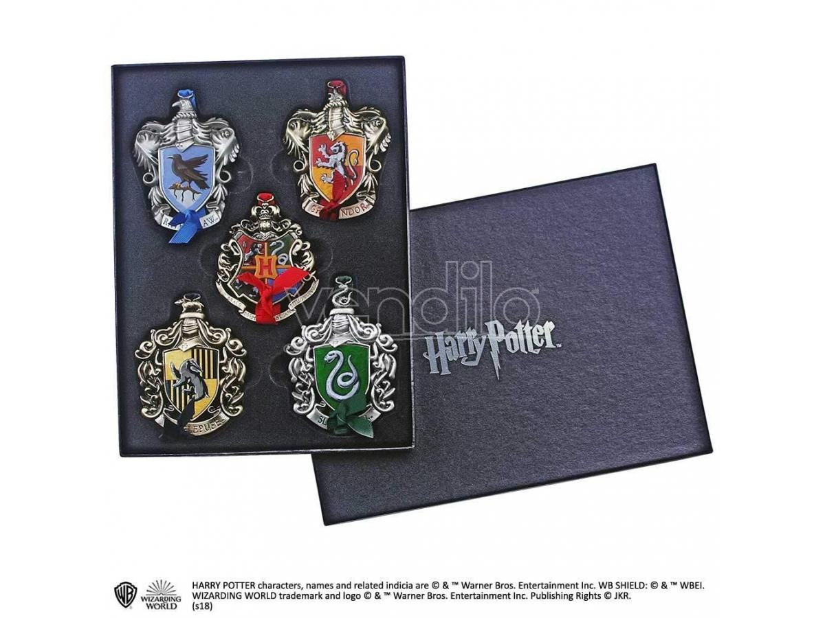 Ornamenti Natale set 5 Stemmi Casate di Hogwarts Harry Potter Noble Collection