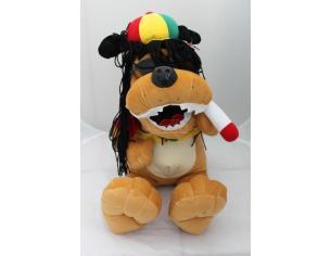 Peluches Cane Rasta con cappello, occhiali da sole e sigaretta 50 cm peluche