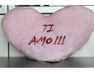SOFFICI COCCOLE - Cuscino a cuore rosa con scritta Ti Amo e luci