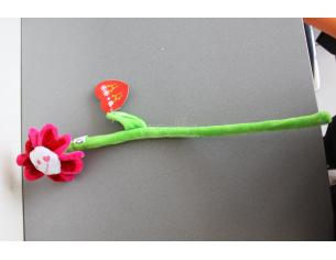 Peluche a forma di fiore rosso e rosa con stelo pieghevole